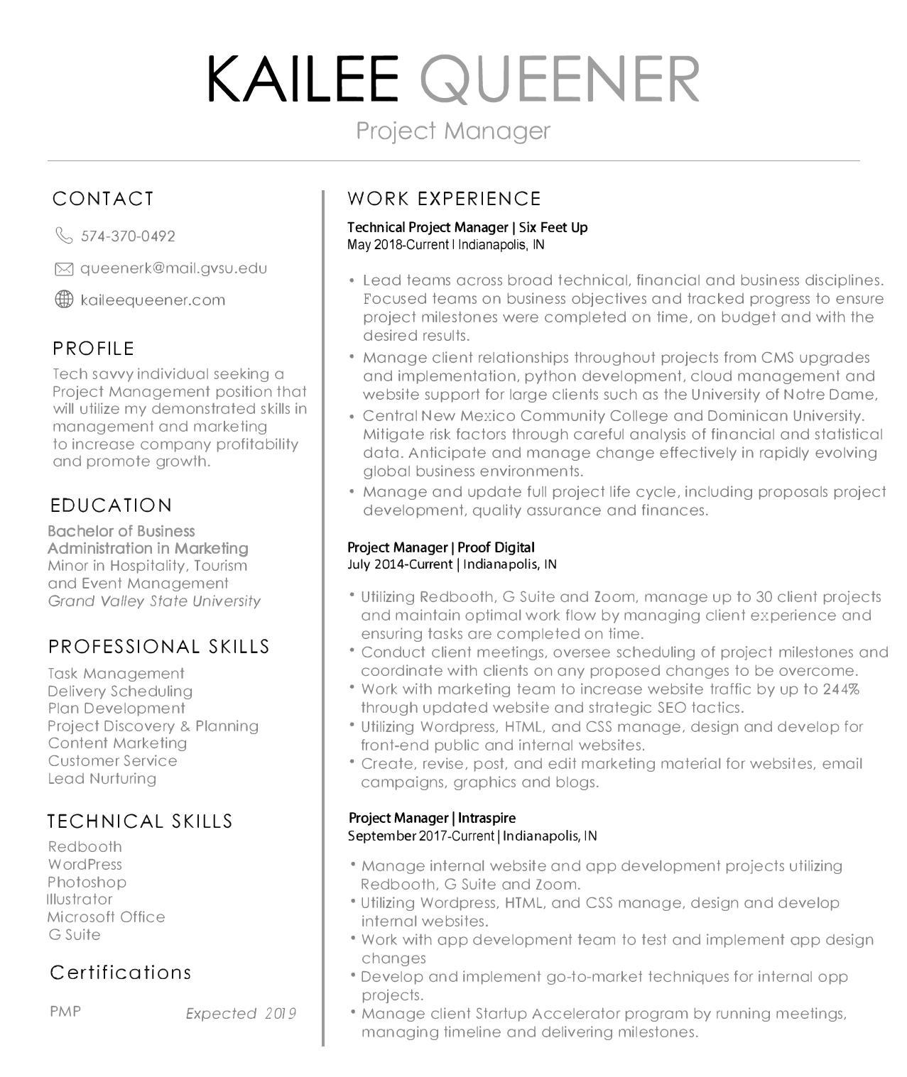 Resume   Kailee Queener